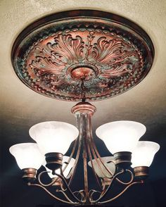 Metal Effects patina on light fixture and ceiling medallion | Beautiful decorative painting by Tinge Studios