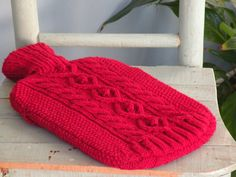 Cherry Red Hot Water Bottle Cover/Sweater with by ArzuMusaKnitting Bottle Cover, Cherry Red, Water Bottles, Wool, Sweater, Knitting, Crochet, Pattern, Jumper