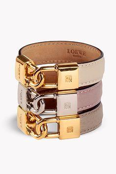Loewe leather gold Lock Braclet