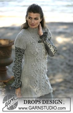 Ravelry: 96-9 Dress with long or short sleeves with cable pattern by DROPS design