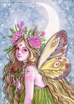 Fleur fée Art Print fille rose papillon fée lune par sarambutcher                                                                                                                                                                                 More