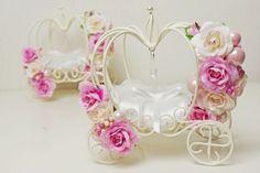 シンデレラ気分で♪かぼちゃの馬車・ウェディングリングピロー・ブライダルピンク Diy Wedding Ring, Wedding Ring Cushion, Wedding Crafts, Wedding Engagement, Wedding Decorations, Engagement Ring Platter, Glass Bottle Crafts, Glass Bottles, Pillow Box