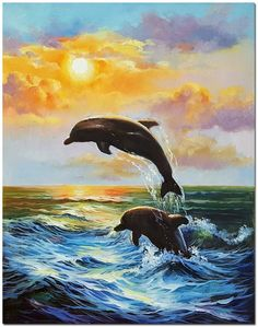 Impressionist Ocean Landscape Oil Painting On Canvas – Hand Painted Nautical Dolphin Fine Art - Painting Techniques Dolphin Painting, Dolphin Art, City Painting, Oil Painting Abstract, Painting Art, Canvas Painting Nature, Painting Clouds, Painting Trees, Painting People