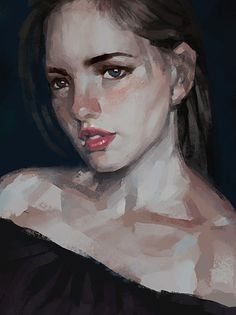 """Daria"" - Starry Chen {figurative art beautiful female head woman face portrait…"