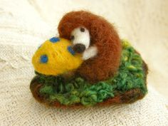 So sweet this needle felted hedgehog