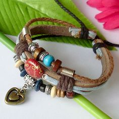 Genuine Hemp Leather Bracelet Wristband With Beautiful Turquoise Beads and Heart Pendant.