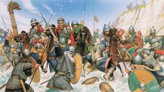 Viking raiders clash with Carolingians. 9th Century.