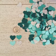 Wedding Confetti Hearts in Dark Teal, Turquoise, Mint  and Silver Glitter by WildfireEvents