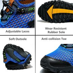 37e327fe79f Men Lycra Mesh Breathable Outdoor Shock Absorption Hiking Shoes  Backpacking