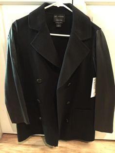 St. John's wool and leather jacket  #StJohn #Peacoat