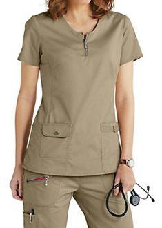 Beyond Scrubs Mia Zip Front Scrub Tops Scrubs Outfit, Scrubs Uniform, Nursing Dress, Nursing Clothes, Scrub Suit Design, Dental Uniforms, Stylish Scrubs, Scrub Jackets, Uniform Design