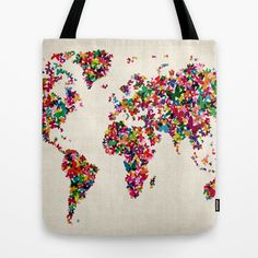 Butterflies Map of the World Map Tote Bag by ArtPause - $22.00