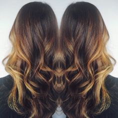 Pretty hair painting on a pretty brunette  :: RedBloom Salon