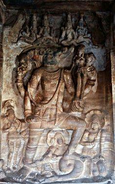 """Lord Vishnu as Varaha (The Boar)."" The Third Incarnation of Lord Vishnu. Cave No. Chalukya Dynasty, Sculptures, Lion Sculpture, Lord Vishnu, Karnataka, Gods And Goddesses, Hinduism, Indian Art, Art And Architecture"