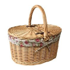 Garden Rose Lining Buff Oval Picnic Basket August Grove