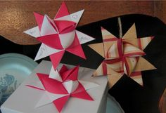 Origami bow star, Valentines decoration