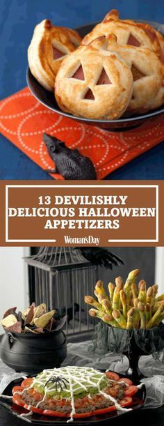 Create the best spread at your Halloween party with these fun finger foods. Click through for easy recipes like Jack 'O Lantern Sandwich Bites, Spiderweb Pizza, Spiderweb Nacho Spread, and more.
