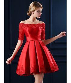 Red Off Shoulder Lace Hem Half Sleeve Lacing Back Prom Skater Dress