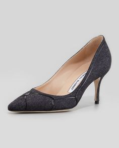 Oooh - a grey flannel shoe!! Love. (Cetto Patent-Flannel Pointy  Pump, Gray/Black by Manolo Blahnik at Neiman Marcus)