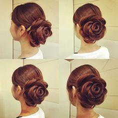 いいね!181件、コメント5件 ― marina.yamaguchiさん(@kotonayamari)のInstagramアカウント: 「あしたの花嫁さまの薔薇ヘアの練練 薔薇ヘアは、着物にもドレスにもあいそう☺️ コツがつかめてきたから 明日はクオリティあげれるようがんばる❗️ #hair #hairdo…」