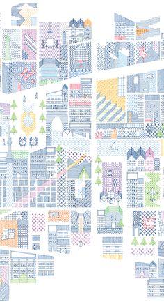 ケンチクイラストレーター、イスナデザイン『思い出によって歪み、色付いた地図』 #ランドスケープ #建築 #パース #イラスト #デザイン #街 #街並み #ドローイング #地図 #建物 #道 #illustration #perspective #isnadesign #landscape #design #architecture #street #future #map Architecture Panel, Architecture Drawings, Architecture Portfolio, Graphic Design Illustration, Illustration Art, L Wallpaper, Plan Drawing, Concept Diagram, Map Design