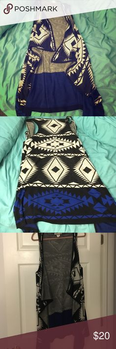 💙 Cute & trendy tribal vest cardigan size 1X 🖤 Worn once. A great way to add some flare to your outfit! Great condition! Tops