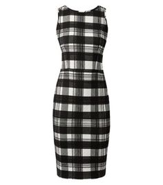 "Give classic workwear looks a revamp with this figure flattering check dress in an understated monochrome design. Ankle strap heels complete the look.- Zip back fastening- Bodycon fit- Cut out back detail- Stretch fabric- Cinched waist- Model is 5'8""/176cm and wears UK 10/EU 38/US 6"