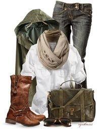 Rain wear: white, denim, brown boots, military green jacket
