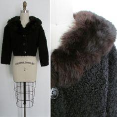 1950s black persian lambswool and fur collar jacket | vintage 50's fur jacket | Small - Medium | by VivianVintage8 on Etsy