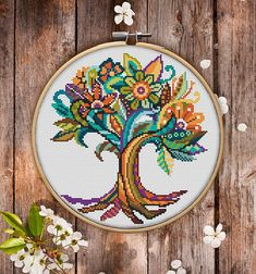 This is modern cross-stitch pattern of Mandala Tree of Life for instant download. You will get 7-pages PDF file, which includes: - main picture for your reference; - colorful scheme for cross-stitch; - list of DMC thread colors (instruction and key section); - list of calculated