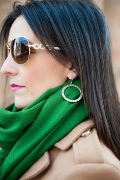 green scarf, guess sunglasses