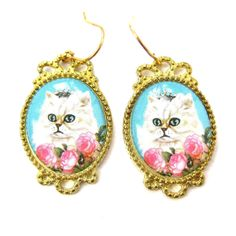 Persian Kitty Cat Portrait Illustrated Dangle Earrings with Roses | Animal Jewelry $7.99 #kittens #cats #animals #jewelry #earrings