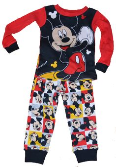 Disney Mickey Mouse Baby Toddler Boy Tight-fit 2 Piece Pajamas + Stickers