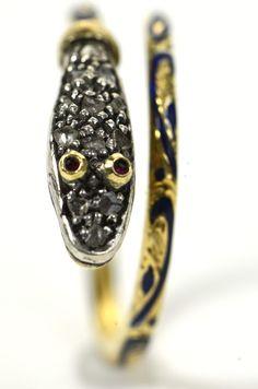 Intriguing Georgian Enamel & Diamond Snake Ring 2,375