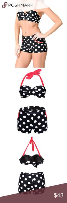 Vintage polka dot bikini Super cute push up halter top. A slightly high waisted shorts bottom. Many little details to this piece. Super comfortable too. White polka dots on a black bikini, with red straps and pocket details. boutique item Swim Bikinis