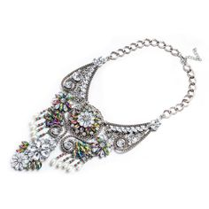 Aventura Jewellery White Gold Plated Opal Swarovski Crystals Statement  Necklace 71d50a4e3