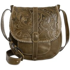 Patricia Nash Tooled Barcelona Crossbody (260 CAD) ❤ liked on Polyvore featuring bags, handbags, shoulder bags, olive, leather cross body purse, leather crossbody purse, patricia nash crossbody, brown leather handbag and leather shoulder bag