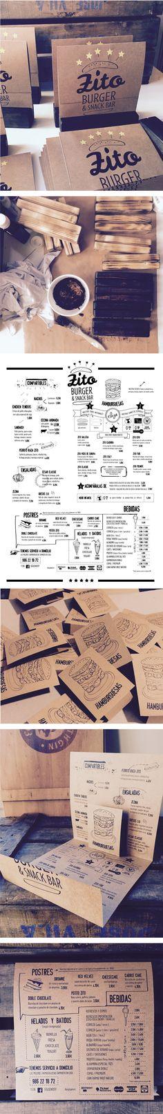 Diseño de imagen y cartas para hamburguesería en Vigo