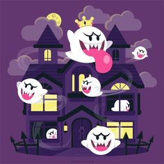 Art print featuring original artwork of the infamous ghost houses (including King Boo) based on the classic Super Mario games. Super Mario Games, Super Mario Art, Super Mario World, Luigi Mansion, King Boo, Wubba Lubba, Ghost House, Mario And Luigi, Halloween Art