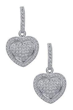 Diamond Heart Drop Earrings