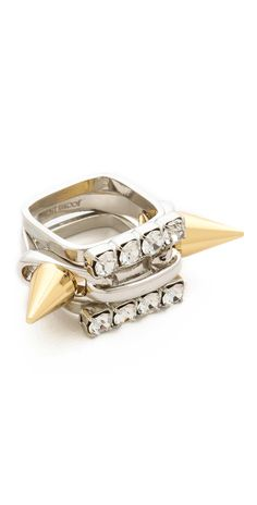 Joomi Lim Baroque Punk Spike & Crystal Ring Set   SHOPBOP