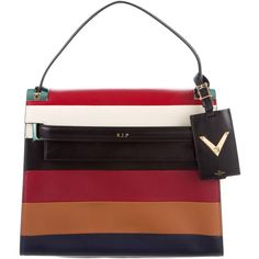 Pre-owned Valentino Striped My Rockstud Satchel found on Polyvore featuring bags, handbags, black, satchel purses, valentino purses, leather purse, leather hand bags and purse satchel