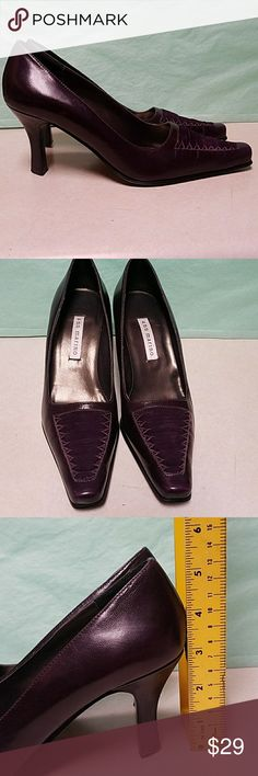 Deep Purple Ann Marino 3 inch Leather Heels Gorgeous  jewel toned deep purple pumps. A couple light blemishes only noticeable if you're a foot away and looking right at them and Missing heel tip on left side. These are unique, classy, and beautiful. Save 10% on all bundles. I ship daily! Ann Marino Shoes Heels