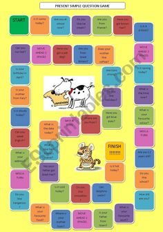 Present Simple Questions Board Game (fully editable) - ESL worksheet by skippy76 English Games, English Class, Teaching English, Game Presents, Verb Tenses, Question Game, Game Start, Grammar Worksheets, How To Run Faster