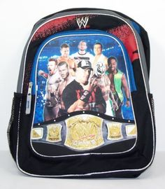 WWE Backpack with Champion Belt and Superstars Graphics Cena Sheamus Miz Etc. by Fashion Accessory Bazaar. $25.00. mesh pockets for water bottle.. This full sized WWE Backpack - Style 159 features the latest artwork of some of your favorite WWE wrestlers. Bag is made from durable nylon with adjustable straps