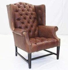 highback wing leather tufted chair, sophisticated -Craigslist