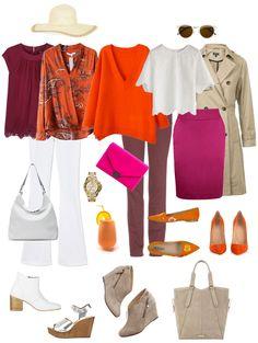 Ensemble: Burgundy, Orange and White