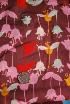 Flowers on Brown Cotton Voile Fabric - 1 Yard from Etsy shop eaudebean