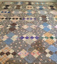 These colors and such fine pattern. 86 1 2 x 76 1 2 1890 Antique Block Variation Quilt Primitive Quilts, Antique Quilts, Vintage Quilts, Vintage Fabrics, Quilting Frames, Hand Quilting, Quilting Projects, Quilting Designs, Quilt Design