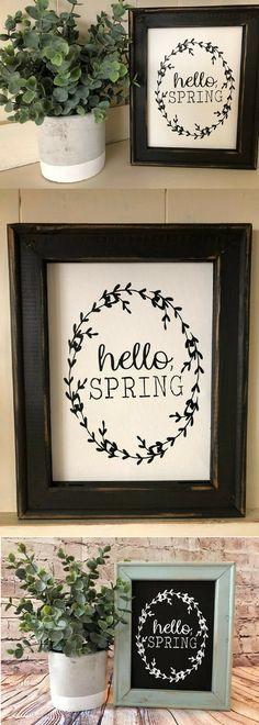 Hello Spring Sign- Spring Decor - Farmhouse Style - Farmhouse Decor - Fixer Upper Style - White Farmhouse - Rustic Decor - Farmhouse Signs #ad